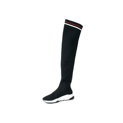 Belle/百丽2017冬季新专柜同款针织帮面厚底松糕女长靴BYW80DC7
