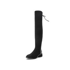 Belle/百丽冬季专柜同款黑色弹力绒布/羊皮女长靴S1A1DDC7