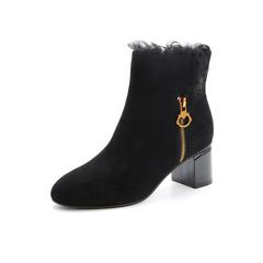 Belle/百丽2017冬同道百丽联合款黑色优雅女人羊绒皮女短靴BZD44DD7