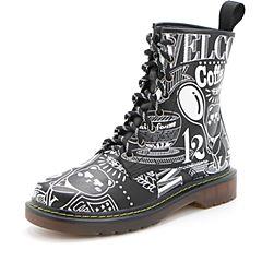 Belle/百丽2017冬专柜同款同道百丽联合款黑色酷感马丁靴牛皮女中靴BWO60DZ7