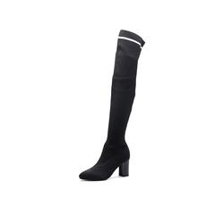 Belle/百丽2017冬新款专柜同款黑色时尚潮流袜靴针织帮面女靴BYZ81DC7