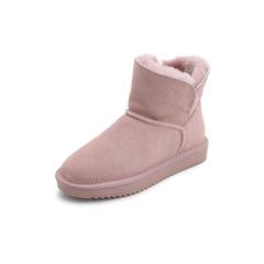 Belle/百丽冬季专柜同款粉色牛剖层皮革女皮靴R6Q1DDD7