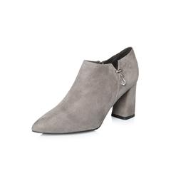 Belle/百丽2018春新品专柜同款灰色时尚英伦风羊绒皮女皮鞋BYM24AM8
