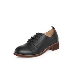Belle/百丽2018春新品专柜同款黑色英伦风摔纹小牛皮女皮鞋牛津鞋BAN20AM8
