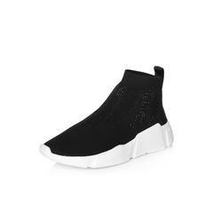Belle/百丽2018春季新品专柜同款黑色运动风烫钻针织帮面女鞋BYWA1AM8