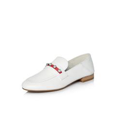 Belle/百丽2018春新品专柜同款白色绵羊皮女单鞋BPZA9AM8