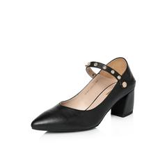 Belle/百丽2018春季新品专柜同款黑色牛皮尖头浅口玛丽珍鞋BZW09AQ8
