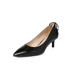 Belle/百丽2018年春季新品专柜同款黑油皮绵羊皮革女皮鞋BSNA1AQ8