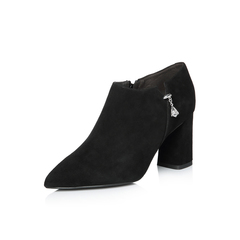 Belle/百丽2018春新品专柜同款黑色时尚英伦风羊绒皮女皮鞋BYM24AM8