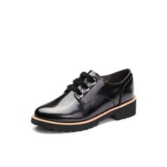 Belle/百丽2018春新品专柜同款黑色时尚英伦风光牛皮女皮鞋牛津鞋BTHB4AM8