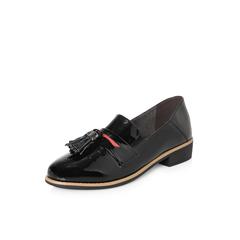 Belle/百丽2018春新品专柜同款黑色流苏皱漆牛皮女皮鞋BLTF6AM8