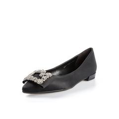 Belle/百丽2018春新品专柜同款黑色真丝布闪钻浅口尖头女单鞋BRP17AQ8