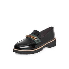 Belle/百丽2018春季新品专柜同款黑色皱漆牛皮乐福鞋女皮鞋BTHB3AM8