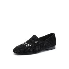Belle/百丽2018春季新品专柜同款黑色羊绒皮乐福鞋女单鞋BLNF8AM8