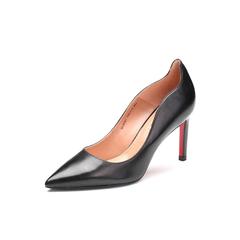 Belle/百丽2018年春季新品专柜同款黑色油皮胎牛皮革女皮鞋BOWB5AQ8