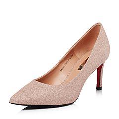Belle/百丽2018春季新品专柜同款粉金亮片布尖头细高跟女单鞋BAE02AQ8