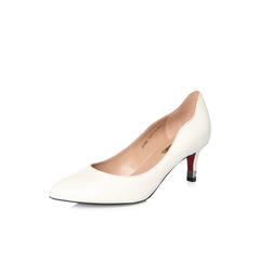 Belle/百丽2018年春季新品专柜同款米色油皮胎牛皮革女皮鞋3VDM1AQ8