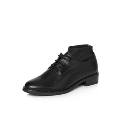 Belle/百丽2018春新品专柜同款黑色时尚英伦风牛皮革/纺织品女皮鞋BLS25AM8