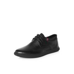 Belle/百丽2018春季新品专柜同款黑色牛皮革/纺织品男皮鞋B1512AM8