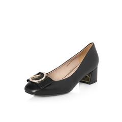 Belle/百丽2018年春季新品专柜同款黑色油皮羊皮革女皮鞋BWI08AQ8
