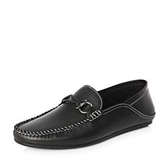 Belle/百丽2018春季新品专柜同款黑色牛皮革男休闲鞋5PY01AM8
