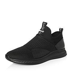 Belle/百丽2018春季新品专柜同款黑色编织布/牛皮革男休闲鞋5PK02AM8