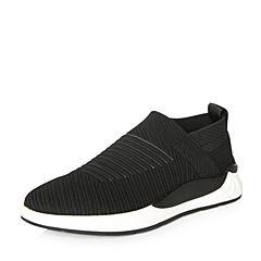 Belle/百丽2018春季新品专柜同款黑/灰编织布男休闲鞋5PX01AM8