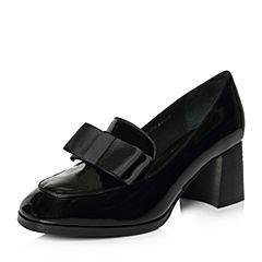 Belle/百丽2018春新品专柜同款黑色复古蝴蝶结牛皮女皮鞋S1X1DAM8