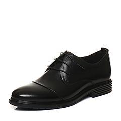 Belle/百丽2018春季新品黑色牛皮商务正装男皮鞋婚鞋03661AM8