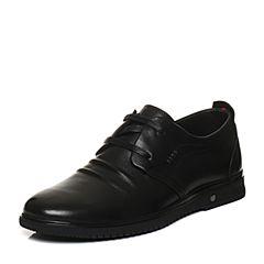 Belle/百丽2018春季黑色牛皮系带平跟男休闲鞋10329AM8