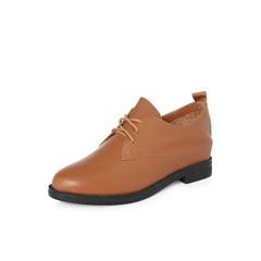 Belle/百丽2018春新品专柜同款棕色时尚英伦风牛皮女休闲鞋S2J1DAM8