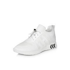 Belle/百丽2018春季新品专柜同款白色运动风纺织品/滴胶/牛皮革女鞋S2C1DAM8
