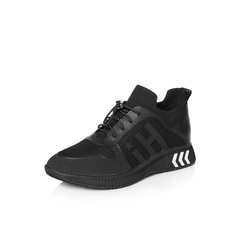 Belle/百丽2018春季新品专柜同款黑色运动风纺织品/滴胶/牛皮革女鞋S2C1DAM8