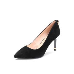 Belle/百丽2018年春季新品专柜同款黑色羊绒皮革女皮鞋S2B1DAQ8