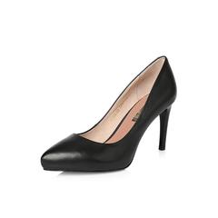Belle/百丽2018年春季新品专柜同款黑色摔纹胎牛皮革女皮鞋S2A1DAQ8