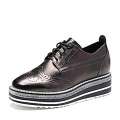 Belle/百丽2018春新品专柜同款银色雕花布洛克鞋牛皮厚底女单鞋BAZ20AM8