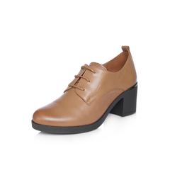 Belle/百丽2018春新品专柜同款棕时尚英伦风油皮羊皮女皮鞋BAP20AM8
