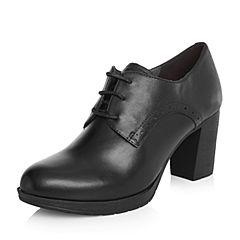 Belle/百丽2018春新品专柜同款黑色英伦风油皮牛皮女皮鞋BDPC1AM8