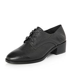 Belle/百丽2018春新品专柜同款黑色时尚英伦风胎摔牛皮女皮鞋S1W1DAM8