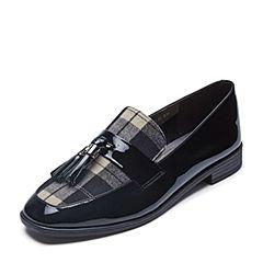 Belle/百丽2018春新品黑色英伦风乐福鞋漆皮牛皮女皮鞋BLNF3AM8