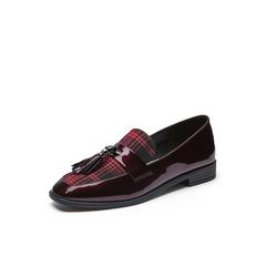 Belle/百丽2018春新品酒红色英伦风乐福鞋漆皮牛皮女皮鞋BLNF3AM8