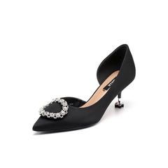 Belle/百丽2018春新品专柜同款黑色真丝布四叶草细跟女凉鞋BYCB5AK8