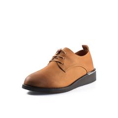 Belle/百丽2018春新品专柜同款棕色英伦风珠光磨砂牛皮女单鞋BAS22AM8