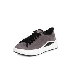 Belle/百丽2018春季新品专柜同款灰色运动风羊绒皮革/纺织品女单鞋BLL20AM8