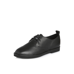 Belle/百丽2018春季新品专柜同款黑色运动风摔纹牛皮满帮女单鞋S2S1DAM8