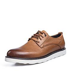Belle/百丽2018春新品专柜同款棕色油蜡牛皮革男皮鞋38211AM8