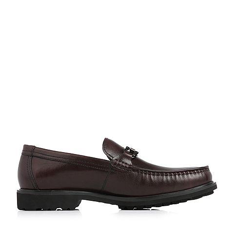 belle/百丽2018春季新品专柜同款棕色牛皮革男皮鞋5qs