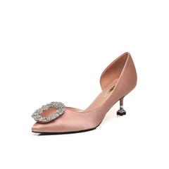 Belle/百丽2018春新品粉色真丝布尖头细跟闪钻女凉鞋BYCC3AK8(领红包更优惠)