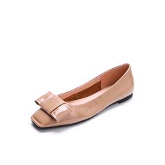 Belle/百丽2018春季新品深杏漆皮牛皮方头平跟浅口女单鞋22303AQ8