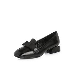 Belle/百丽专柜同款黑色皱牛漆皮女单鞋乐福鞋S2W1DAM8